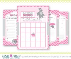 Girl Elephant Baby Shower Games Printable by adlyowlinvitations