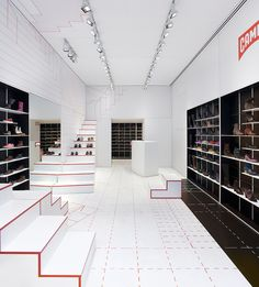 The Camper Lyon Store is a store design that was completed by Studio Makkink & Bey. The retail design was born out of the designer's inspiration of the basic walking movements
