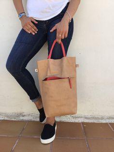 Free Shipping/Beige tote/Beige leather bag/Medium от LaraKlass