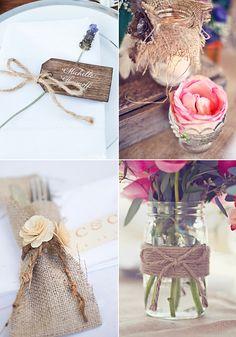 Decoración para bodas rusticas. Rafia y cuerdas, marcasitios y jarrones