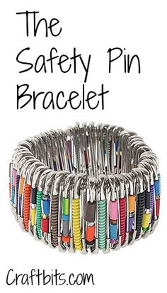 Safety Pin Bracelet — craftbits.com - I may have to make one of these when their wrestling season starts back up!