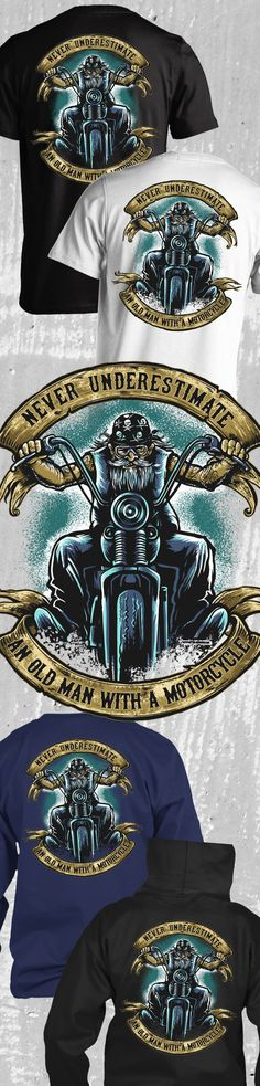 Don't let the gray hair fool you, this biker can still ride a Harley-Davidson cross country! Now here's the perfect riding t-shirt for an old biker who's still young at heart and still loves riding his motorcycle.