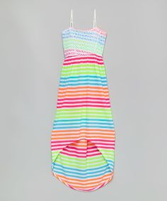 Another great find on #zulily! Green & Orange Stripe Maxi Dress - Girls #zulilyfinds