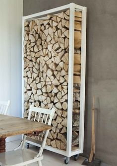 The clean, white lines of this modern storage rack balance nicely with the rustic appeal of the firewood. Not only can you make one of these yourself, but storing this much wood indoors means fewer trips outside into the cold.