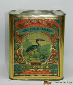 TesorosDelAyer.com · Old Antique Vintage Tin Box · Old tins boxes · TIN BOX WITH ADVERTISING LITHOGRAPHED PIMENTON LA GARZA REAL - J.JOSE ALBARRACIN - ESPINARDO MURCIA - AOS 30 - LITOGRAFIA MODERNISTA. MEASURES 20 X 16 X 13.5 CM. - VERY GOOD CONDITION.