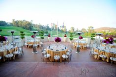 Marbella Country Club Wedding reception | red, gold and purple | San Juan Capistrano, CA | Kerry Hatter Weddings and Events | Jim Kennedy Photographers