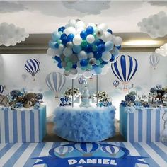 these ideas to decorate the baby shower with a bear are so pretty and cute - Salvabrani Baby Shower Balloons, Baby Shower Games, Baby Boy Shower, Baby Birthday, 1st Birthday Parties, Birthday Party Decorations, Baby Shower Decorations For Boys, Baby Decor, Shower Party