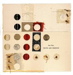 "Part Three: Truth and Freedom    8 x 8""  book parts, thread, glue, on paper    by Melinda Tidwell"