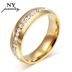 18 К позолоченный кристалл обручальные кольца для женщи кольцо из нержавеющей стали продвижение скидка