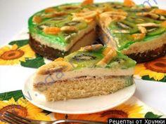 Бисквитный торт с желе фруктами и сливочным кремом