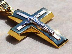 Solid 14K Gold Cross Necklace Pendant for Men Gold by KANTILAKI