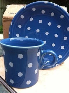 Fiesta® Lapis Polka Dot Salad Plate & Mug by Homer Laughlin China ~ HLCCA Exclusive | WorthPoint