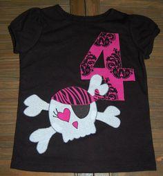 Pirate girl's pink and black birthday custom applique shirt - skull & crossbones, $18.00.