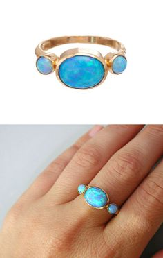 Blue Opal - Gold Rings - 14k Yellow Gold plated Over Brass - Gemstone Band Round Stone-Birthstone Rings - Bezel Rings-Mother\'s Day Gift