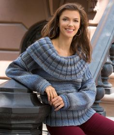 Ribbed Collar Pullover Free Knitting Pattern from Red Heart Yarns