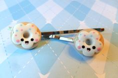 Kawaii Donut Hairpins Polymer Clay Kawaii Hair by JollyCharms, $8.00