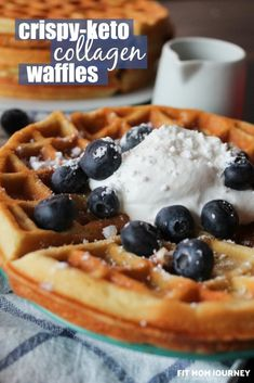 These Keto Waffles are net carbs each, 28 grams of protein, and are crispy and delicious! Even my 6 year old daughter was fooled by my Keto Waffles! Keto Cream Cheese Pancakes, Keto Biscuits, Keto Pancakes, Low Carb Breakfast, Breakfast Recipes, Breakfast Ideas, Free Breakfast, Great Recipes, Keto Recipes