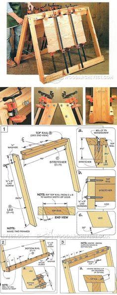 Vetrtical Glue Up Station Plans - Panel Glue Up Tips, Jigs and Techniques | WoodArchivist.com