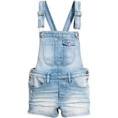 093bcb81 Denim Bib Overall Shorts $29.99 ($30) ❤ liked on Polyvore featuring shorts,  destroyed