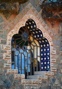 Found this window at the Casa Figueres, a modernist manor house designed by Catalan architect Antoni Gaudi, which was constructed between 1900 and 1909. It is located at the Sarria-Sant Gervasi district of Barcelona, Spain.