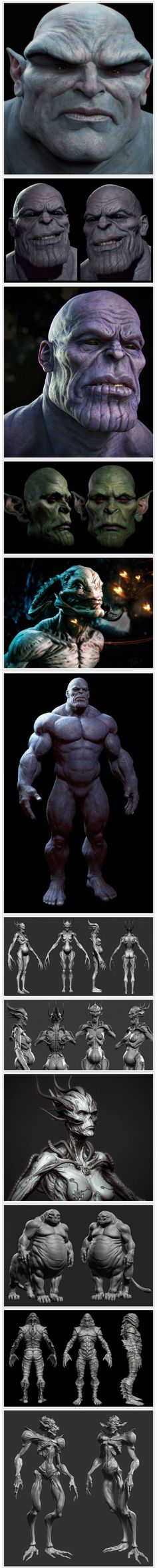 3D models - ZBrush Bunch of Sculpts, particularly like the sculpt of Thanos