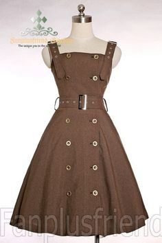 Steampunk fashion---I could see this paired with a lacy (or plain) blouse. This dress would also be lovely in olive or navy. Great for a military steampunk look, I believe.