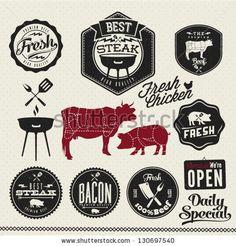 Vintage BBQ Grill elements, Typographical Design by Noka Studio, via ShutterStock: