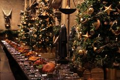 Two long dining tables will be dressed as they were for seasonal feasts in Harry Potter and the Philosopher's Stone with prop versions of turkeys, hams, fruit, vegetables, plum puddings and snow cakes