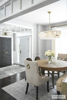 A gorgeous dining room makeover reveal with new gray walls and moldings, painted from the crown to the basboards. A spectacular chandelier sets the tone for this chic, sophisticated, bright and airy l Dining Room Walls, Dining Room Sets, Dining Room Design, Dining Room Furniture, Furniture Design, Design Table, Design Kitchen, Design Design, Kitchen Ideas