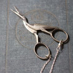 Antique German Sewing Bird Stork Scissors Necklace by contrary, $54.00