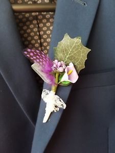£7.99. Buy it now. more than 12 available. Ultra violet attractive buttonhole. Calla Lilly, spray flowers and Guinea hen feather. Handmade 2018 latest collection by Gianna Creations.