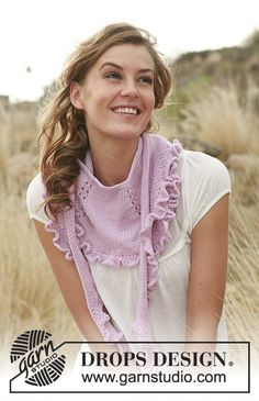 """DROPS 127-29 - Knitted DROPS shawl with flounce in """"Merino Extra Fine"""". - Free pattern by DROPS Design"""