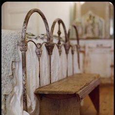 love this old iron bedstead