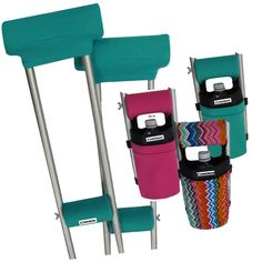 Great outfit ideas for crutches by Crutcheze! Mix & match teal crutch covers with pink, teal or tribal chevron crutch bags for head turning outfits. #crutchpads