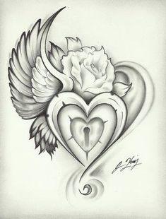 wing heart lock rose tattoo even tho I already have so many bird related tattoos Girly Tattoos, Body Art Tattoos, Tattoos For Guys, Tatoos, Tattoo Sketch, Tattoo Drawings, Sacred Heart Tattoos, Heart Lock Tattoo, Tattoo Key