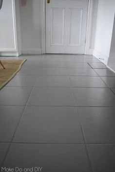 Amazing Ways to Tile Flooring Tile Painted Flooring Painted Tile Floor Six Months Later Make Do And Diy Painted Kitchen Floors, Grey Kitchen Tiles, Grey Painted Kitchen, Bathroom Floor Tiles, Painted Floors, Painting Ceramic Tile Floor, Painting Tile Floors, Vinyl Plank Flooring, Parquet Flooring