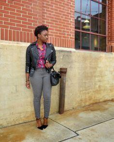 The Language of Yolande : leather + plaid + houndstooth