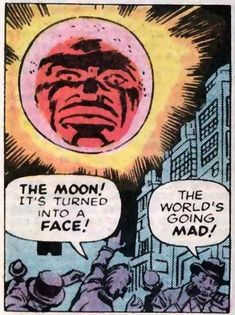 The Moon! It's Turned Into A Face! by Jack Kirby Retro Vintage Comic Book Pop Art Illustration Comics Vintage, Old Comics, Vintage Comic Books, Comic Books Art, Comic Art, Book Art, Art Pulp Fiction, Pulp Art, Creepy
