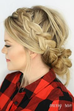 2014 DIY Dutch Braid and low messy bun Hairstyles - long golden hair, Messy hairstyle, 2014 Holiday Hairstyles Side Bun Hairstyles, Holiday Hairstyles, My Hairstyle, Pretty Hairstyles, Wedding Hairstyles, Hairstyle Ideas, Medium Hairstyles, Protective Hairstyles, Messy Bun With Braid