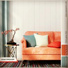 This fabulous coral sofa is so uplifting!