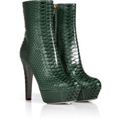 SERGIO ROSSI Fur Green Bi-Color Python Half Boots (£325) ❤ liked on Polyvore featuring shoes, boots, ankle booties, heels, ankle boots, green, green ankle boots, fur boots, high heel ankle boots and stiletto ankle boots