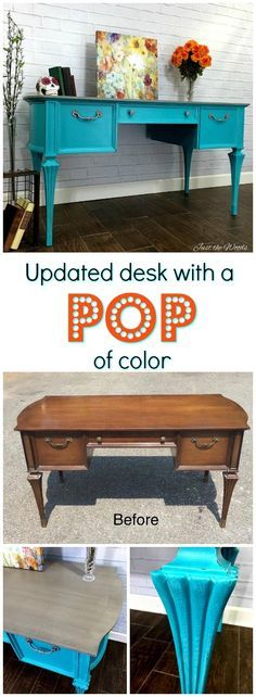 vintage painted turquoise desk with gray washed top revealing patterned wood grain underneath and silver gray hardware to match.