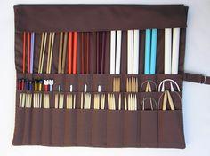 large knitting needle organizer - knitting needle case - modern stripes  - 36 pockets. $40.00, via Etsy.
