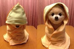 Adorable baby wrapped in a towel.