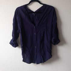 Navy Forever 21 blouse 3/4 length sleeve blouse with buttons down the front. Worn only once! Forever 21 Tops Blouses