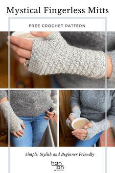 Crochet Fingerless Gloves Free Pattern, Crochet Mitts, Fingerless Gloves Knitted, Crochet Stitch, Free Crochet, Diy Crochet Gloves, Chunky Crochet, Crochet Wrist Warmers, Hand Warmers