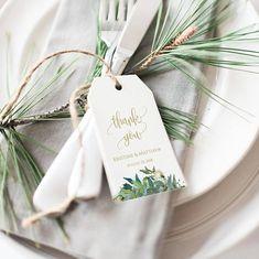 Greenery wedding tags, gold wedding, thank you tags, wedding favor tags Wedding Favor Tags, Wedding Thank You, Plan Your Wedding, Wedding Gifts, Wedding Planning, Wedding Invitations, Invitation Envelopes, Budget Wedding, Wedding Ideas