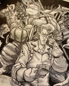 regram @eddienunezart This one was fun. Another #commission and a happy client #tmnt #donatello #egon #haroldramis #ghostbusters #crossover #80scartoons #nostalgia #Donnie #geeks