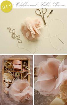 {DIY Chiffon Tulle Flowers}