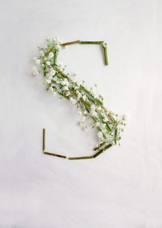 Letter S ♥ This is a typeface formed by Gypsophila or Baby's Breath. The meaning of Gypsophila is to miss, to adore, and to give. Gypsophila often serves as a supporting role, but its existence is as significant as the protagonist. Ideas Geniales, Floral Letters, New Energy, Arte Floral, Spring Has Sprung, Letters And Numbers, Bunt, Floral Arrangements, Flower Arrangement